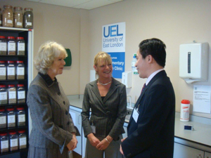 Meeting Camilla, Duchess of Cornwall, at the opening of the new clinical building at the University of East London, where Charmian was course leader of the BSc Acupuncture degree.
